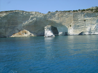 milos island in greece, kleftiko bay rock caves, sea swimming sailing in summer holidays
