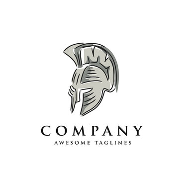 Hand drawn sketch of spartan warriors or gladiators wearing in traditional helmets vector