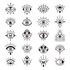 Evil eye sign. Decorative alchemy eyes symbol design, mystic, occult tattoo style vector illustration set