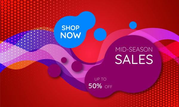 mid season sale banner template design
