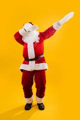 Happy dancing Santa Claus squating and waving hands