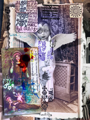 Poster Imagination Collage with old macabre photographs. Alchemical, esoteric and mysterious manuscripts, and ghosts, nightmares and surreal illustrations