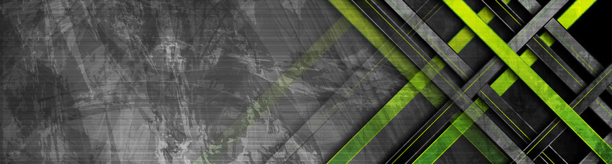 Tech green stripes on abstract grey grunge corporate header banner. Vector geometric background Fotomurales