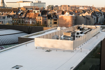 an zinc roof on a high building