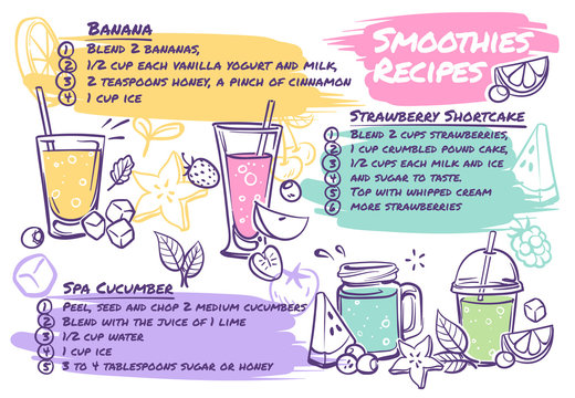 Smoothie recipes. Fruit cocktails with smoothie ingredients, vegetables and herbs, tasty organic detox drink healthy nutrition vector menu