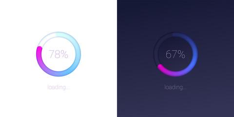 Progress of loading for mobile apps. Icons of modern 3D web preloader of updates on light and dark background. Radial load, upgrade or download diagram. Progress bar with percentage of progress