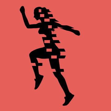 Black illustration of fit slim female runner on red background
