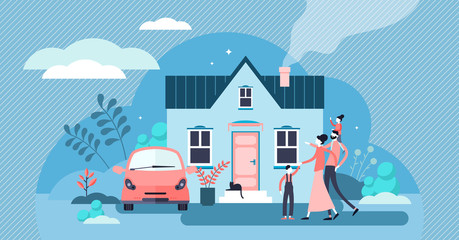 Family house vector illustration. Flat tiny modern property person concept.