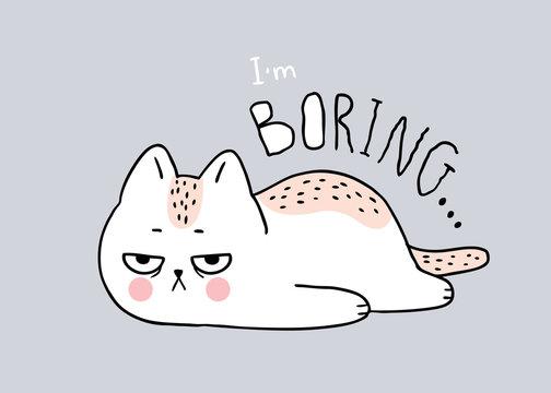 Cartoon cute cat boring vector.