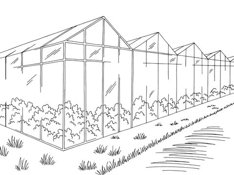 Greenhouse graphic black white landscape sketch illustration vector