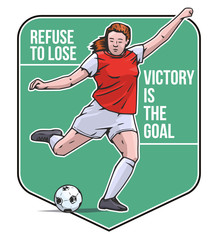 Vector illustration of female football or soccer player kicking the ball. Football sport poster on abstract background