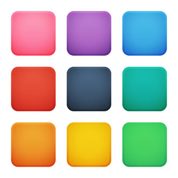 Colorful square buttons set. Vector assets for web or game design, app buttons, icons template isolated on white background.