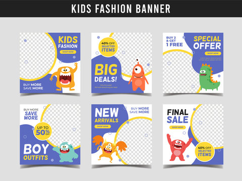 Kids fashion sale square banner template with cute monster illustration. Promotional banner for social media post, web banner and flyer