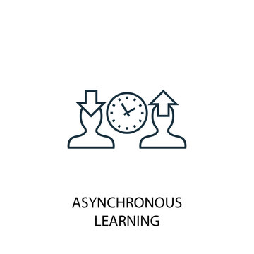 Asynchronous Learning line icon. Simple element illustration