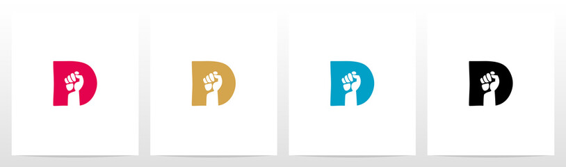 Fototapeta Fist Inside Letter Logo Design D obraz