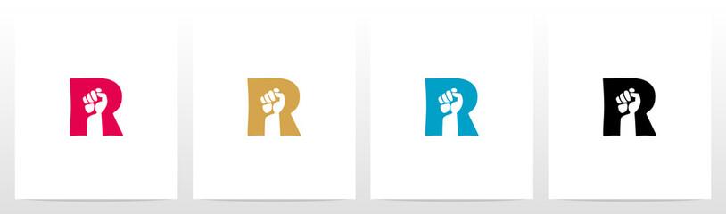 Fist Inside Letter Logo Design R