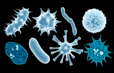 Set of virus, germ and bacteria