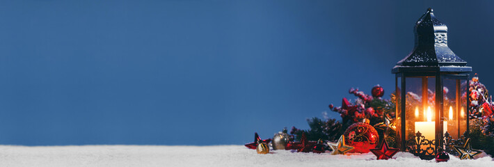 Christmas composition on snow