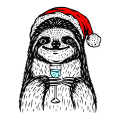 Vector Sloth Santa illustration isolated on white. T shirt design. Drinking champagne animal poster. New Year Christmas image.