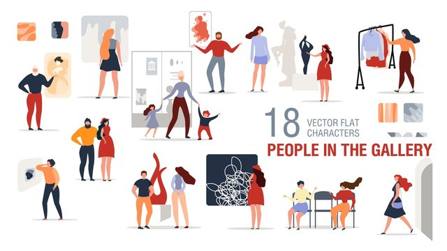 People Characters in Art Gallery Flat Vector Set