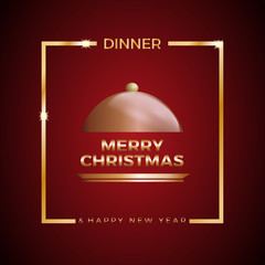 Christmas Eve dinner, template for poster, cover and menu. Vector illustration