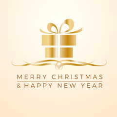 Merry Christmas and Happy New Year. Greeting, Gift or Purchases. Golden vector illustration