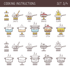 Set of 12 hand drawn cooking icons in two versions: doodle and colorful with descriptive name. Perfect for cookbooks and explain recipes. Vector icons isolated on white background. Set 3 of 4.