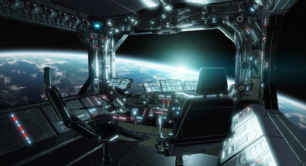 Wall Mural - Spaceship grunge interior control room with view on space 3D rendering elements of this image furnished by NASA
