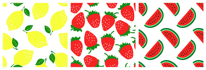 Fruit seamless pattern set. Fashion clothing design. Watermelon, strawberry, lemon. Food print for dress, skirt, linens or curtain. Hand drawn vector sketch background collection