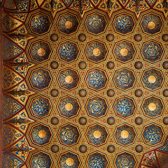 Golden floral pattern decorations, part of ceiling of Mausoleum of Sultan Qalawun, Sultan Qalawun Complex, located in Muizz Street, Gamalia district, Cairo, Egypt