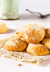 Frontview of homemade amaretti biscuits on delicate background