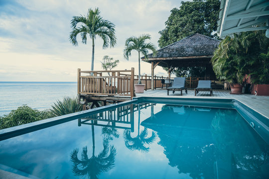 Luxury Villa with Terrace and Infinity Pool with Ocean Views in the Caribbean