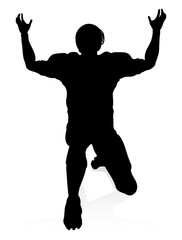 Detailed American Football player sports silhouette
