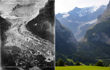 A combination picture shows the Lower Grindelwald Glacier seen in Grindelwald in 1865 and in 2019