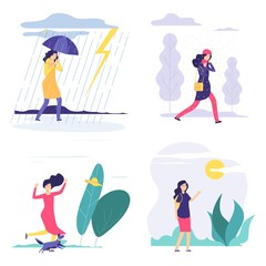 Fototapeta Four seasons. Woman various weather illustration. Vector autumn summer winter spring concept with flat girl. Season four, girl in rain or snow