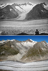 A combination picture shows the Aletsch Glacier photographed between 1860 and 1877 and on September 4, 2019