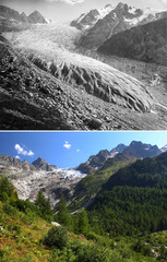 A combination picture shows the Trient Glacier as it was in 1891 and in 2019