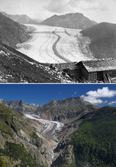 A combination picture shows the Aletsch Glacier as it was in 1865 and in 2019