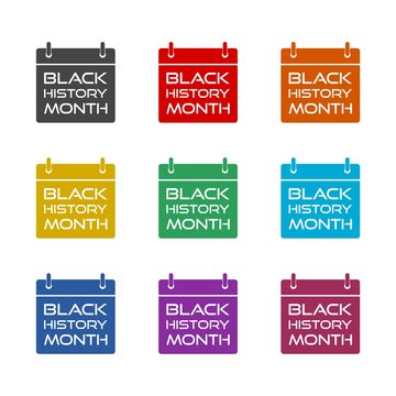 Black history month color icon set isolated on white background