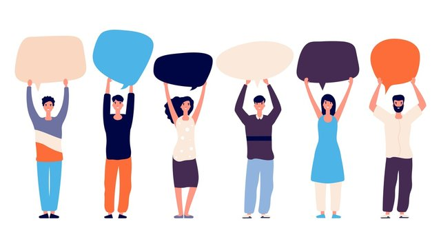 People with speech bubbles. Voting right concept. Vector motivation flat characters isolated on white background. Business communication, speech bubble and conversation illustration