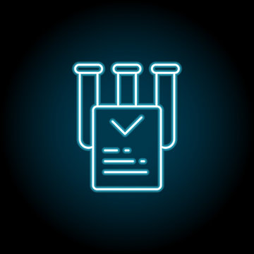 Marijuana, laboratory, report blue neon icon. Simple thin line, outline vector of marijuana icons for ui and ux, website or mobile application