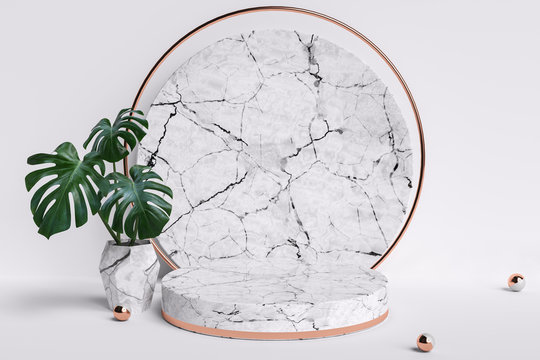 Cosmetic product display background with plant, marble textured round podium and monstera leaves isolated on white, 3d illustration.