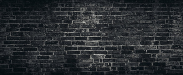 Spoed Fotobehang Baksteen muur Rough black brick wall texture background