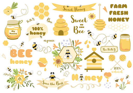 Bees set honey clipart Hand drawn bee honey elements Hive honeycomb pot beekeeping Text phrases illustrartion