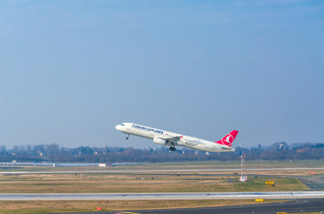 Dusseldorf, NRW, Germany - March 18, 2015: Airbus A321 of Turkish Airlines at startup on the Dusseldorf airport.