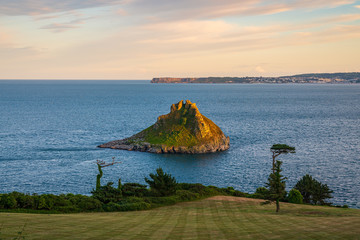 Thatcher's Rock, seen from Thatcher Point in Torquay, Torbay, England, UK