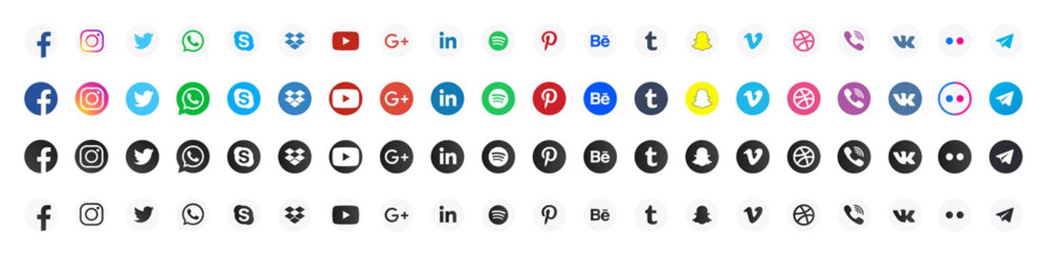 Set social media icon 80 pc. Facebook, instagram, twitter, youtube, skype, pinterest, google, viber, whatsapp, linkedin, telegram, wechat. Vector illustration EPS10.