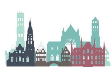 Wall Mural - Vector sketch of historic buildings of Bruges (Brugge), Belgium