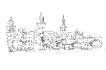Wall Mural - vector sketch of Charles Bridge, Prague, Czech Republic.