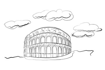 Fotomurales - vector sketch of Coliseum in Pula, Croatia.